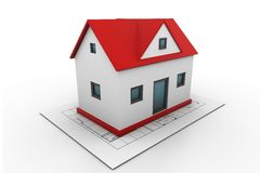 House on a blueprint Stock Photos