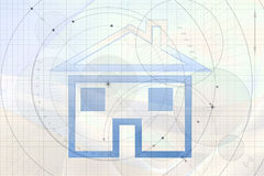 House on a blueprint Royalty Free Stock Images