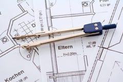 House blueprint and compass Stock Photos