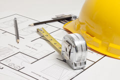 House blueprint construction Royalty Free Stock Images