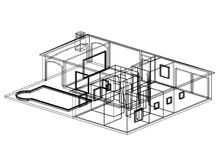 House blueprint 3D perspective Royalty Free Stock Image