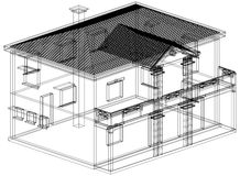 House blueprint 3D perspective Stock Image