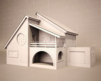 House blueprint 3d Stock Photography