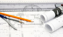 House blueprint draft Royalty Free Stock Photography