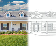 House Blueprint Drawing Gradating Into Completed Photograph. House Blueprint Drawing Gradating Into a Completed Photograph stock images