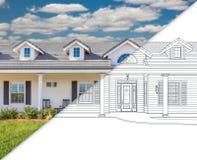 House Blueprint Drawing Gradating Into Completed Photograph. House Blueprint Drawing Gradating Into a Completed Photograph royalty free stock photography