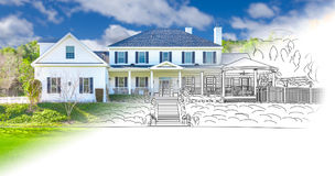 Large House Blueprint Drawing Gradating Into Completed Photograph. Royalty Free Stock Photography