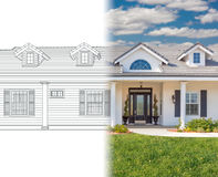House Blueprint Drawing Gradating Into Completed Photograph. New House Blueprint Drawing Gradating Into Completed Photograph stock image