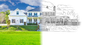 House Blueprint Drawing Gradating Into Completed Photograph. New Home House Blueprint Drawing Gradating Into a Completed Photograph stock photos