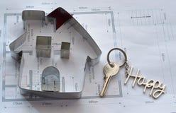 House Blueprint and Happy Keychain Stock Image