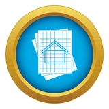 House blueprint icon blue vector isolated. On white background for any design royalty free illustration