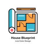 House Blueprint Line Color Icon vector illustration