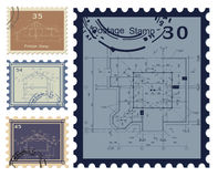 House blueprint stamped. Vector Royalty Free Stock Photos