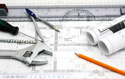House blueprint and tools Royalty Free Stock Images