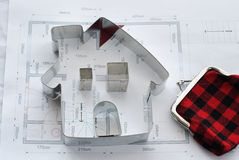 House Blueprint and Wallet Stock Photo