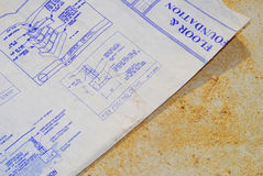 House Blueprints. Blueprints for home addition on sawdust surface Stock Photography