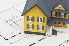 House on Blueprints Stock Photos