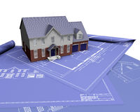 House on blueprints stock images