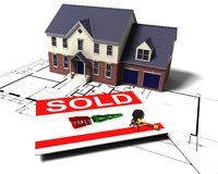 House on blueprints. 3D render of a house on blue prints with sold sign and keys Royalty Free Stock Photos