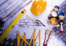 House blueprints close up Royalty Free Stock Image