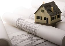 House blueprints close up Royalty Free Stock Photography