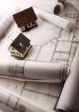 House blueprints close up Royalty Free Stock Photos