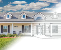 House Blueprint Drawing Gradating Into Completed Photograph. House Blueprints Drawing Gradating Into Completed Photograph stock illustration