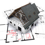 House on blueprints with notes Stock Photos