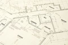 House Blueprints Plans Stock Photo