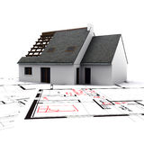 House on blueprints with red c. House mockup on top of blueprints with red pen notes and corrections stock illustration