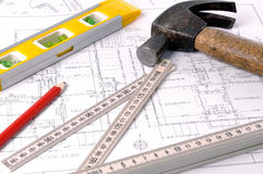 House blueprints and tools Royalty Free Stock Photo