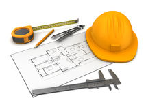 House blueprints and tools Royalty Free Stock Image