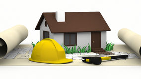 House, blueprints and yellow hard  hat Royalty Free Stock Photos