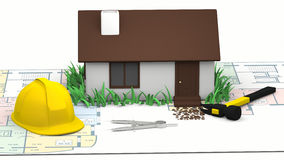 House, blueprints and yellow hard  hat Stock Photos