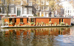 House Boat in Amsterdam Canal (2003) Stock Image