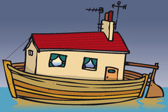 House boat. House built into boat on water Stock Photography