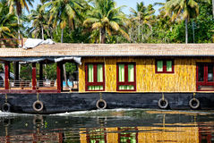 House boat close up. In backwaters at coconut palms background in alappuzha, Kerala, India Royalty Free Stock Images