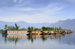 The house boat on the Dal Lake of Srinagar stock photo
