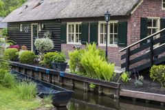 House with Boat Giethoorn Royalty Free Stock Image