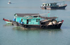 House boat in Ha Long Bay near Cat Ba island, Vietnam Stock Image