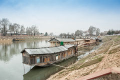 House boat kashmir India. House boat in Kashmir India royalty free stock photo