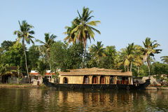 House boat in the Kerala (India) Backwaters Royalty Free Stock Images