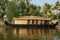 House boat in the Kerala (India) Backwaters. Stock Photos
