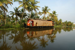 House boat in the Kerala (India) Backwaters. Royalty Free Stock Photo