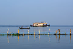House boat in the Kerala (India) Backwaters. Royalty Free Stock Photography