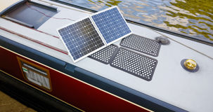 House Narrow Boat Solar Panels - Clean Energy Royalty Free Stock Photo