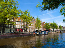 House Boats in Amsterdam Canal Royalty Free Stock Photos