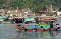 House boats in Ha Long Bay near Cat Ba island, Vietnam Stock Photography