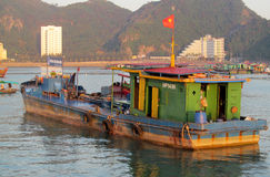 House boats in Ha Long Bay near Cat Ba island, Vietnam stock image