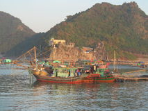 House boats in Ha Long Bay near Cat Ba island, Vietnam Royalty Free Stock Photography